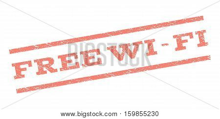Free Wi-Fi watermark stamp. Text tag between parallel lines with grunge design style. Rubber seal stamp with dust texture. Vector salmon color ink imprint on a white background.