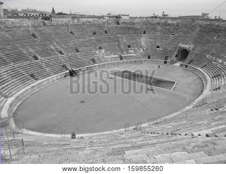 The Arena of Verona in Monotone, Roman Amphitheatre at the Piazza Bra Square in Verona, Italy