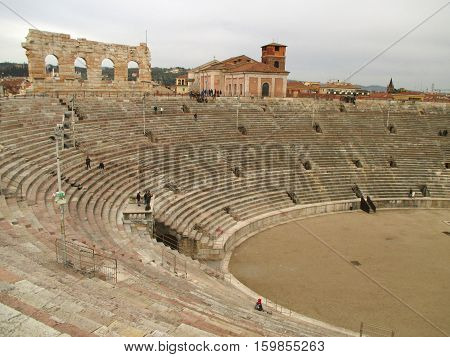 Arena of Verona, the Well Preserved Roman Amphitheatre at the Piazza Bra Square in Verona, Italy