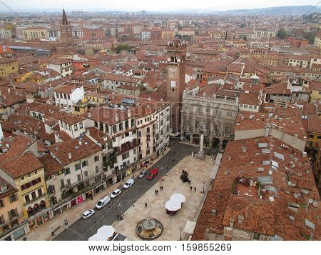 Stunning Piazza delle Erbe Square seen from the Torre dei Lamberti Tower, Verona in Northern Italy