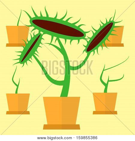 Carnivorous dangerous plant concept. Stock vector illustration