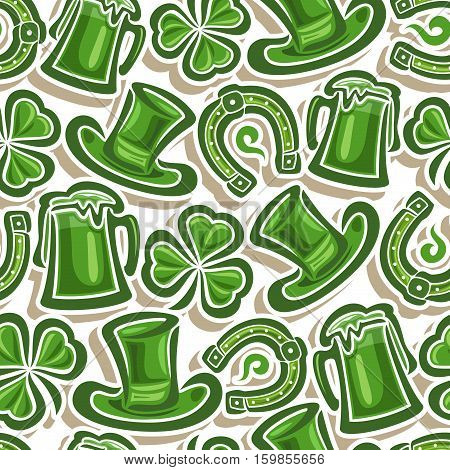 Vector Seamless Pattern St. Patrick's Day, Green cylinder hat, lucky horseshoe, magic shamrock, mug tankard with shadow closeup on white background, green wrapping fabric pattern