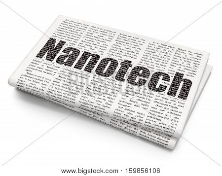 Science concept: Pixelated black text Nanotech on Newspaper background, 3D rendering