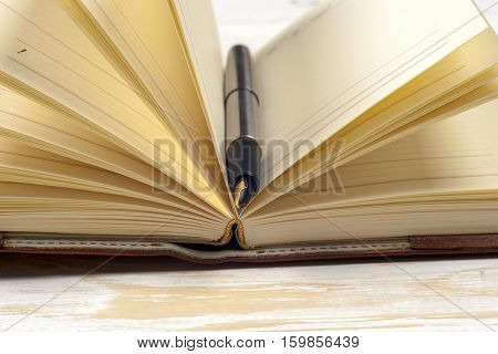 Close-up of open book and pen. Copy space for text.