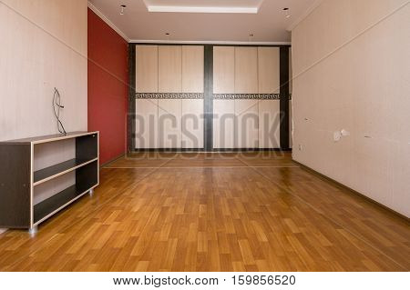 Interior Of An Empty Room, Built-in Wardrobe Compartment