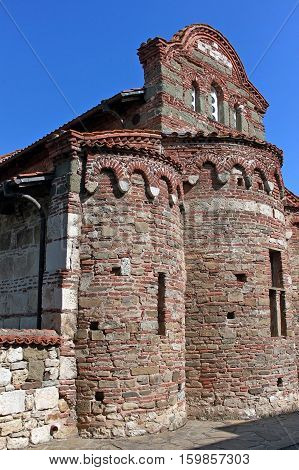 Nesebar Bulgaria - 12 July 2015: Church of St. Stephen is a medieval Eastern Orthodox church. Was constructed in the 10th century and is best known for its lavish exterior decoration and mural painting.
