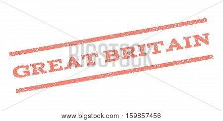Great Britain watermark stamp. Text caption between parallel lines with grunge design style. Rubber seal stamp with dust texture. Vector salmon color ink imprint on a white background.