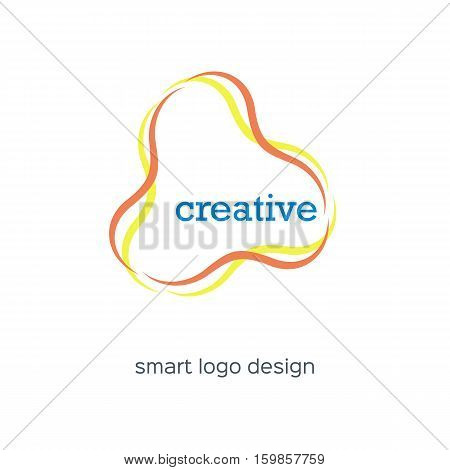 Creative elegant logo design. Abstract vector logotype with colorful smooth lines forming triangle. Stock illustration isolated on white background