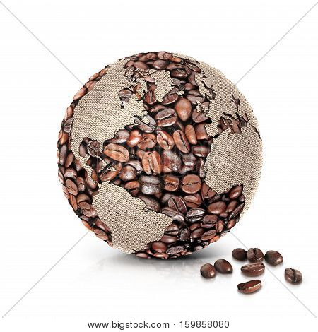 coffee world 3D illustration north and south america map on white background
