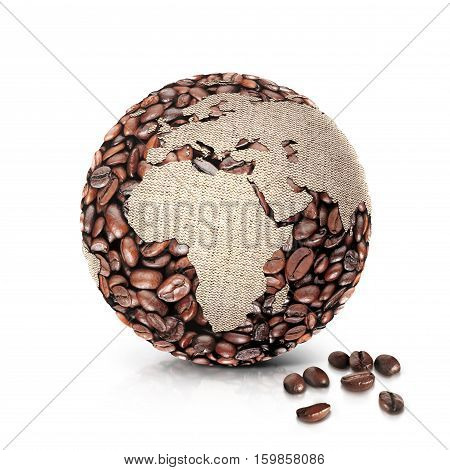 coffee world 3D illustration europe and africa map on white background