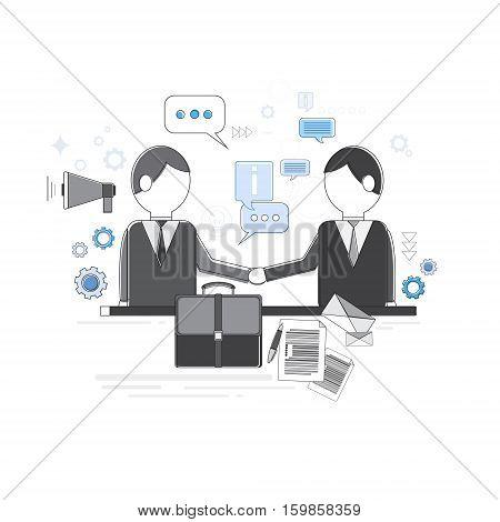 Businessman Partners Shake Hand Partnership Concept Business Web Banner Vector Illustration