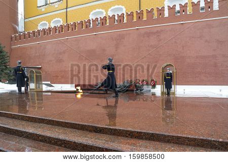 MOSCOW -NOVEMBER 11, 2016: To relieve a sentry on the post at the Eternal Flame at the Tomb of the Unknown Soldier in Moscow, Russia.