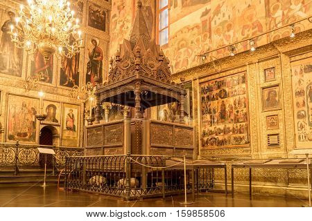 MOSCOW -NOVEMBER 11, 2016:  Interior of the Assumption Cathedral in Moscow. (Cathedral of the Dormition, Uspensky sobor)