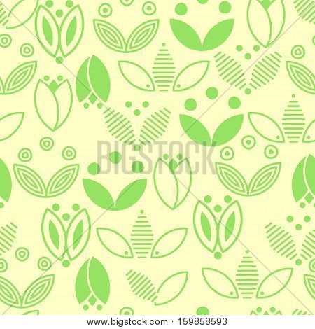 Green flower and leaves seamless pattern. Simple ecology symbols on yellow background. Stock vector illustration
