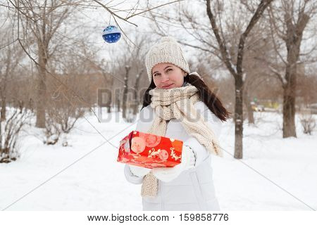 VOLGOGRAD RUSSIA - December 03 2016: The girl's portrait in a winter jacket in the winter in the park
