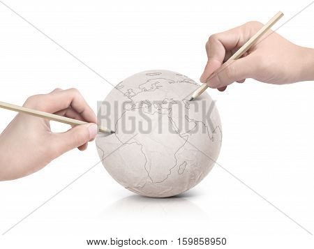 Two hand stroke drawing Europe map on paper ball on white background