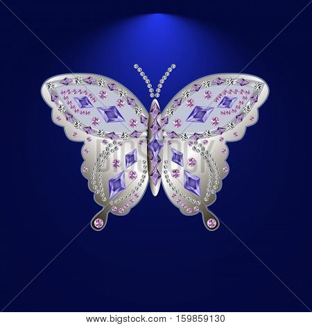 silver butterfly jewelry with precious stones Isolated vector illustration.