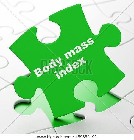 Medicine concept: Body Mass Index on Green puzzle pieces background, 3D rendering
