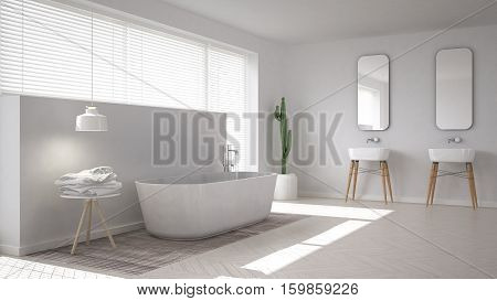 Scandinavian bathroom white minimalistic interior design, 3d illustration
