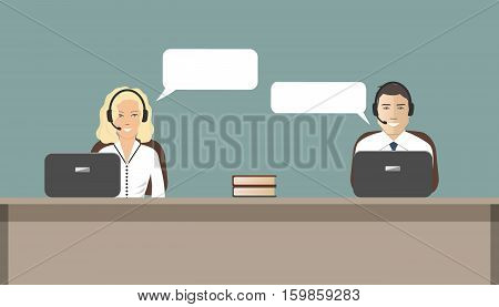 Call center concept. Young woman and a man in headsets sitting at the table. It can be used as a banner for websites. Vector illustration