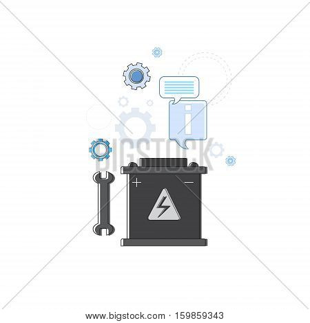 Car Service Accumulator Auto Mechanics Business Web Banner Vector Illustration