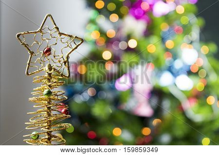 Christmas Holiday Background, Christmas Table Background With Decorated Christmas Tree And Garlands.