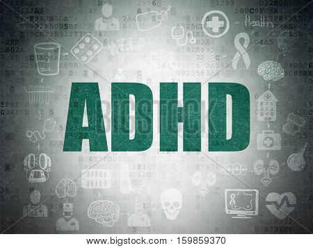 Health concept: Painted green text ADHD on Digital Data Paper background with  Scheme Of Hand Drawn Medicine Icons