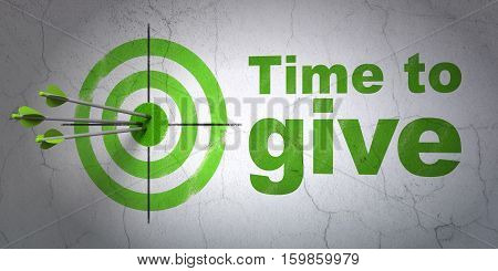Success time concept: arrows hitting the center of target, Green Time To Give on wall background, 3D rendering