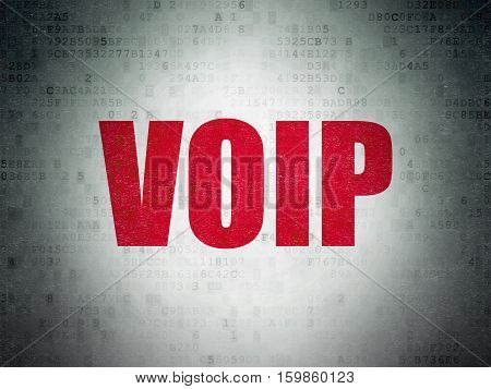 Web design concept: Painted red word VOIP on Digital Data Paper background