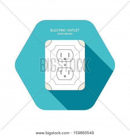 Vector isolated icon of electric rosette with long body of Type B on the turquoise hexagon background with shadow for use in USA and Canada.