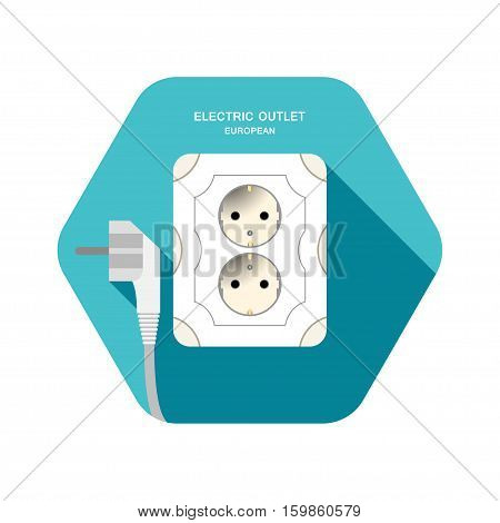 European electric rosette vector isolated icon with gray plug on the turquoise hexagon background with shadow.