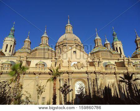 Basilica of Our Lady of the Pillar against the Vivid Blue Sky, Zaragoza, Spain