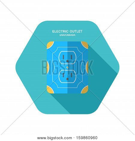 Vector isolated icon of electric blue and yellow rosette with long body on the turquoise hexagon background with shadow for use in USA and Canada.