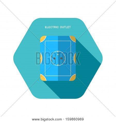 Vector isolated icon of electric blue and yellow rosette with long body on the turquoise hexagon background with shadow for euro plug.