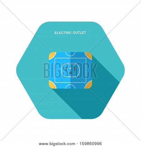Vector isolated icon of electric blue and yellow rosette on the turquoise hexagon background with shadow for USA and Canada.