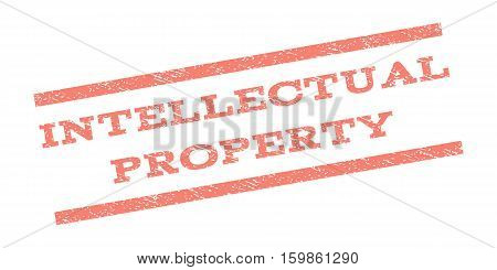 Intellectual Property watermark stamp. Text caption between parallel lines with grunge design style. Rubber seal stamp with dirty texture. Vector salmon color ink imprint on a white background.