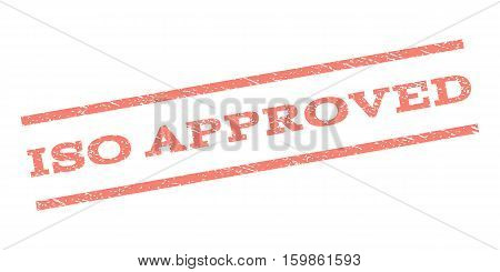 ISO Approved watermark stamp. Text tag between parallel lines with grunge design style. Rubber seal stamp with scratched texture. Vector salmon color ink imprint on a white background.
