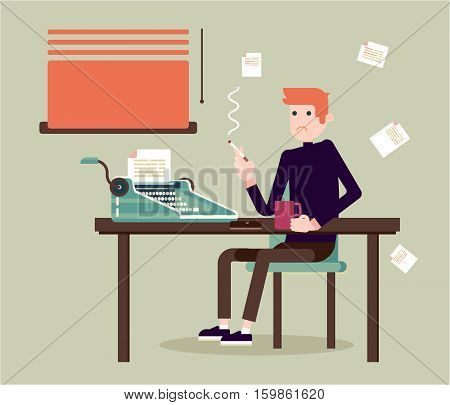Writer ssits by the table and writing a new story. Retro vintage style. Indoor illustration. Vector flat design. Flat character - writer.
