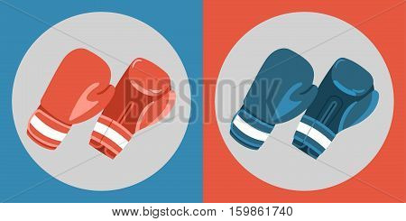 Boxing gloves icon. Color boxing gloves on a blue and red background. Sports Equipment. Vector Illustration