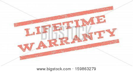 Lifetime Warranty watermark stamp. Text caption between parallel lines with grunge design style. Rubber seal stamp with unclean texture. Vector salmon color ink imprint on a white background.