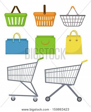 Shopping bag, basket, trolley, cart. Icon set, flat style. Purchase supermarket bag set. Isolated on white background. Vector illustration