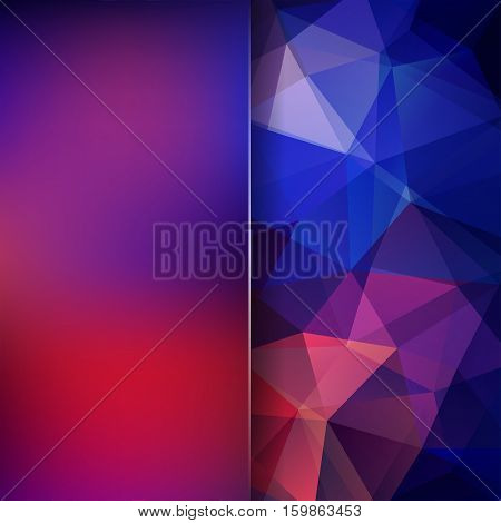 Geometric Pattern, Polygon Triangles Vector Background In Red And Blue Tones. Blur Background With G