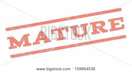 Mature watermark stamp. Text caption between parallel lines with grunge design style. Rubber seal stamp with scratched texture. Vector salmon color ink imprint on a white background.