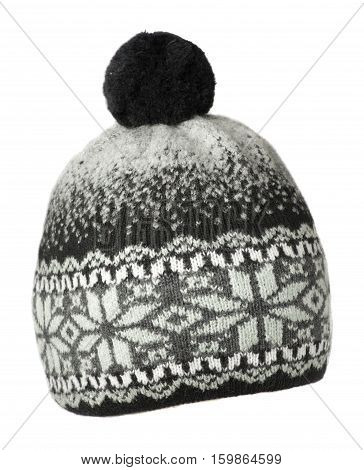 Knitted Hat Isolated On White Background .hat With Pompon .  Black And White Hat