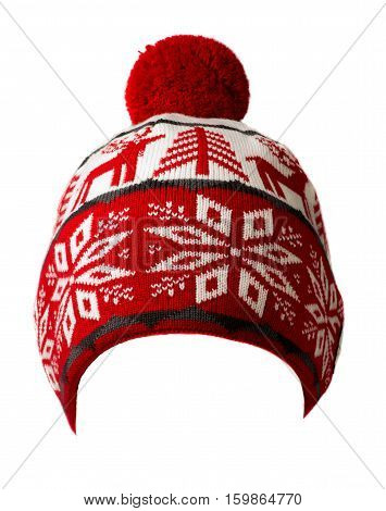 Knitted Hat Isolated On White Background .hat With Pompon .  Red And White Hat