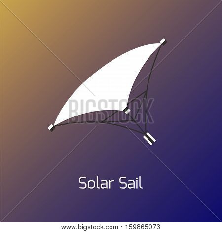 Solar sails concept. Stock vector illustration of small spaceship using sunlight for movement in space. Futuristic scene on Earth orbit.