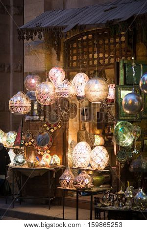 CAIRO, EGYPT - MARCH 20, 2016: Historical  Khan El-Khalili Souq marketplace is one of the tourist magnets in Capital City Cairo, Egypt.