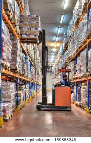 Saint-Petersburg Russia - October 31 2016: Refrigerator huge warehouse with a frozen meat.
