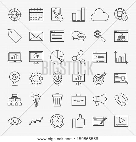 Web Development Line Icons Set. Vector Collection of Modern Thin Outline Search Engine Optimization Symbols.