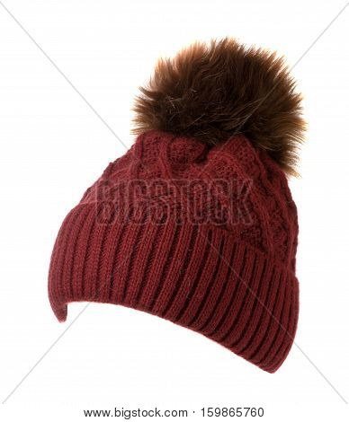 Women's Knitted Hat Isolated On White Background.hat With Pompon . Red Hat